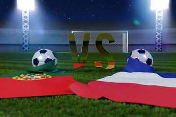 3d rendering of soccer game Portugal / France on soccer field co
