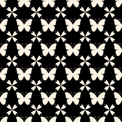 Vector seamless pattern with butterflies. Stylish graphic texture.