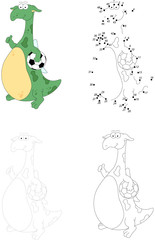 Cartoon dragon footballer isolated on white. Dot to dot game for