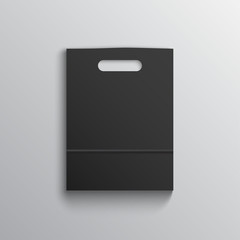 Black paper bag mockup with handles on grey background