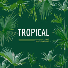 Tropical Palm Leaves Background. Graphic T-shirt Design in Vector