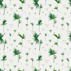 Seamless Pattern. Tropical Palm Leaves Background. Geometric Abstract Background