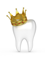 Human tooth with a gold crown on a white background. 3D illustra