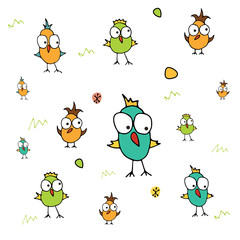 Hand drawn funny birds background in retro colors