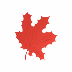 Red maple leaf icon in cartoon style isolated on white background. Tree symbol