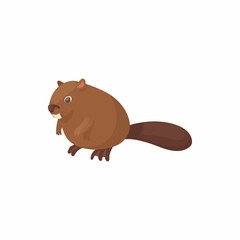 Beaver icon in cartoon style isolated on white background. Animal symbol