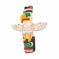 Bird totem icon in cartoon style isolated on white background. Worship symbol