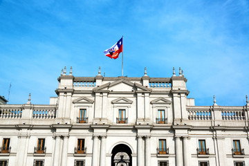 View of the facade of La Moneda Palace, the presidential palace in Santiago, Chile