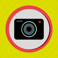 Business internet online ecommerce buy camera isolated, vector illustration