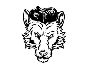 Vintage Black And White Hair Pomade Barber Shop Character - Confidence Wolf Hustler