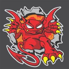 the devil breaking steel wall mascot