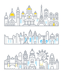 Set Vector Line Banners Paris, London and New York