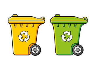 Yellow and green trash bins with recycle sign icon.