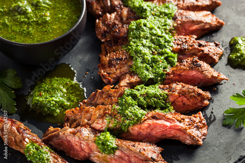 Wall mural Homemade Cooked Skirt Steak with Chimichurri