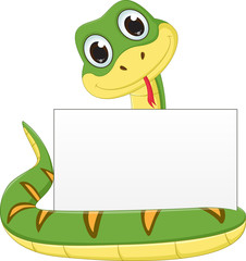 cute snake cartoon with blank sign