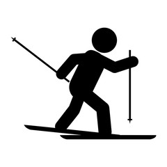simple flat design skiing pictogram icon vector illustration