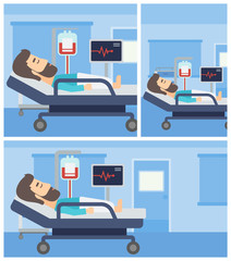 Man lying in hospital bed.