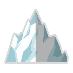 flat design ice mountain icon vector illustration