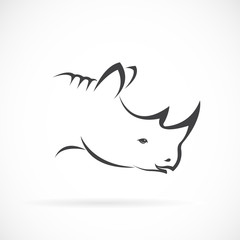 Vector image of rhino head on white background. Vector rhino for