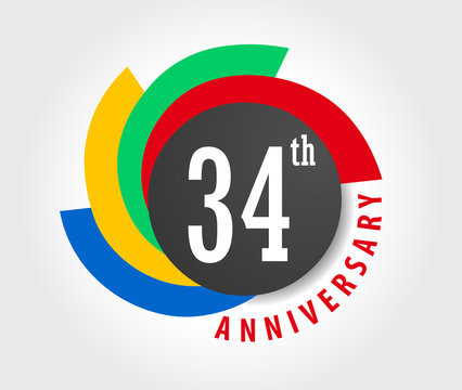 34th Anniversary celebration background, 34 years anniversary card illustration - vector eps10
