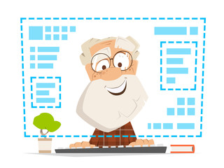 Old man sitting front computer monitor Online education