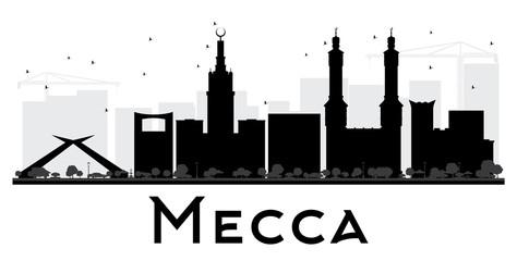 Mecca City skyline black and white silhouette.