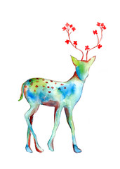 Deer watercolor painting abstract with flower at horn; isolated drawing on white background