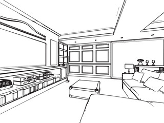 outline sketch drawing interior perspective of house