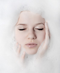 woman and white foam