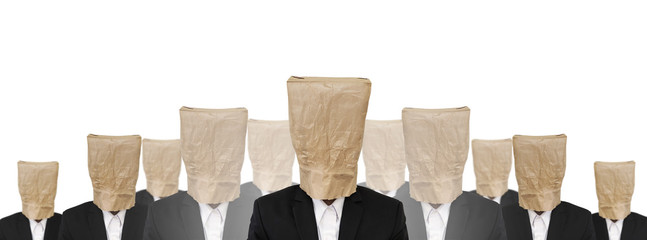 Group of a guy in suit with brown paper bag on head