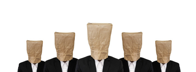 Five businessman in suit with brown paper bag on head