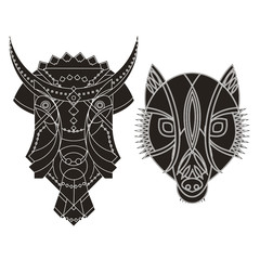 decorated bull wolf heads