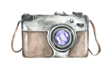 Watercolor retro camera. Vintage camera as professional equipment or hobby. Old-fashioned art style. Isolated camera on white background.
