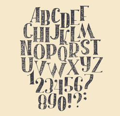 Vector hand drawn font, based on english hand drawn abc from a to z and numbers from 0 to 9. Capital font made with nib and serif, decorated hatch freehand alphabet . Isolated vector illustration.
