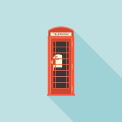 Red telephone box of London, flat design with long shadow