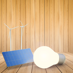 alternative energy concept with 3d rendering wind turbines, solar panels and light bulb