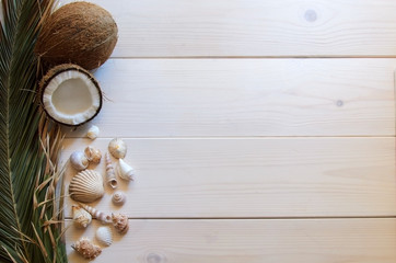 Close up of coconut with palm leaf and shells on wooden background. Copy space.