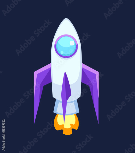 Rocket set vector and technology space ship rocket cartoon