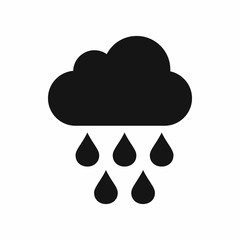 Cloud with rain drops icon in simple style isolated vector illustration