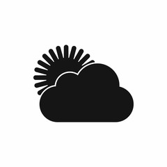 Sun and cloud icon in simple style isolated vector illustration