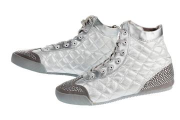 Silver sports gym shoes in rhinestones