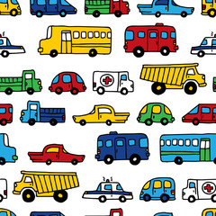 Seamless pattern of doodles cars.