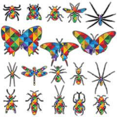 geometric design in Shape insects vector collection. Insect