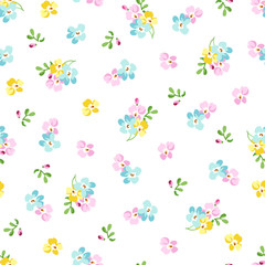 Seamless pattern with small blue flowers, forget-me-not