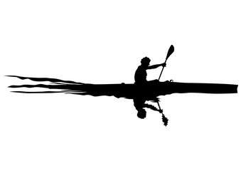 Athletes whit kayak on white background