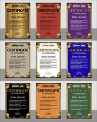 Set certificate of appreciation vertical template. Gold frame.