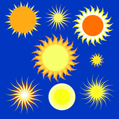 set of different suns illustrations. Various sun on a blue background. Vector illustration.