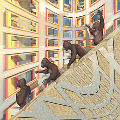 Four gorillas walking on a stairway