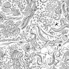 Vector seamless pattern of underwater wild animals and plants.