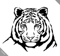 black and white ink draw tiger vector illustration